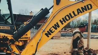 Видео обзор.  Гидробур DELTA RD8 и экскаватор погрузчик NEW Holland B115B