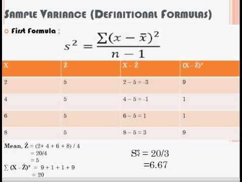 Different Formula To Find Sample Variance - Youtube