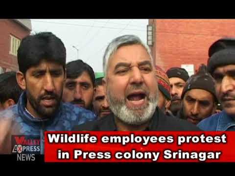 Wildlife employees protest in Press colony Srinagar