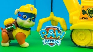 PAW PATROL Nickelodeon Super Hero Rubble Crane Bulldozer Toys Video Unboxing