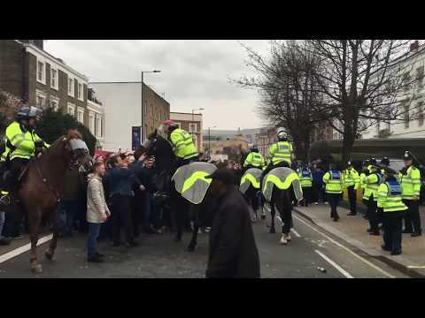 Chelsea vs Tottenham. Riots at Fulham road. 01/04/2018
