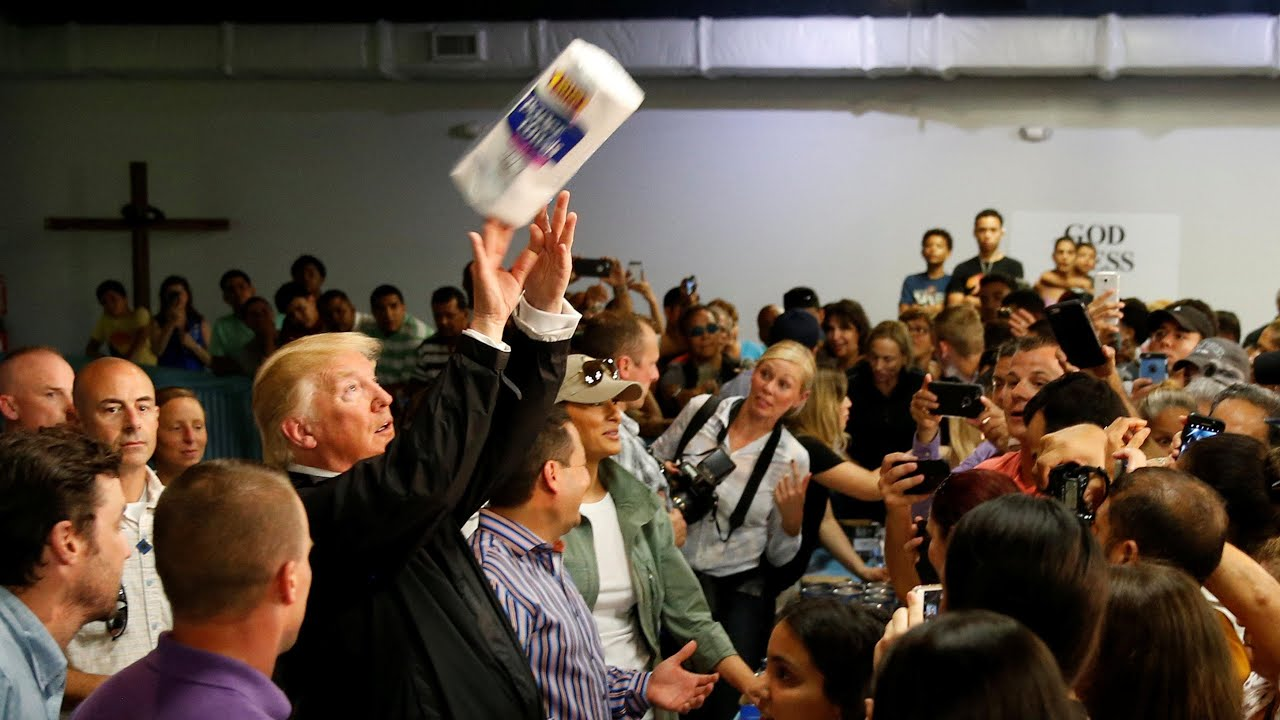 Trump throws paper towels into crowd in Puerto Rico - YouTube