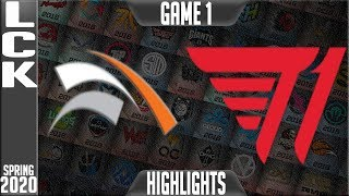 HLE vs T1 Highlights Game 1 | LCK Spring 2020 W1D3 | Hanwa Life Esports vs T1 G1
