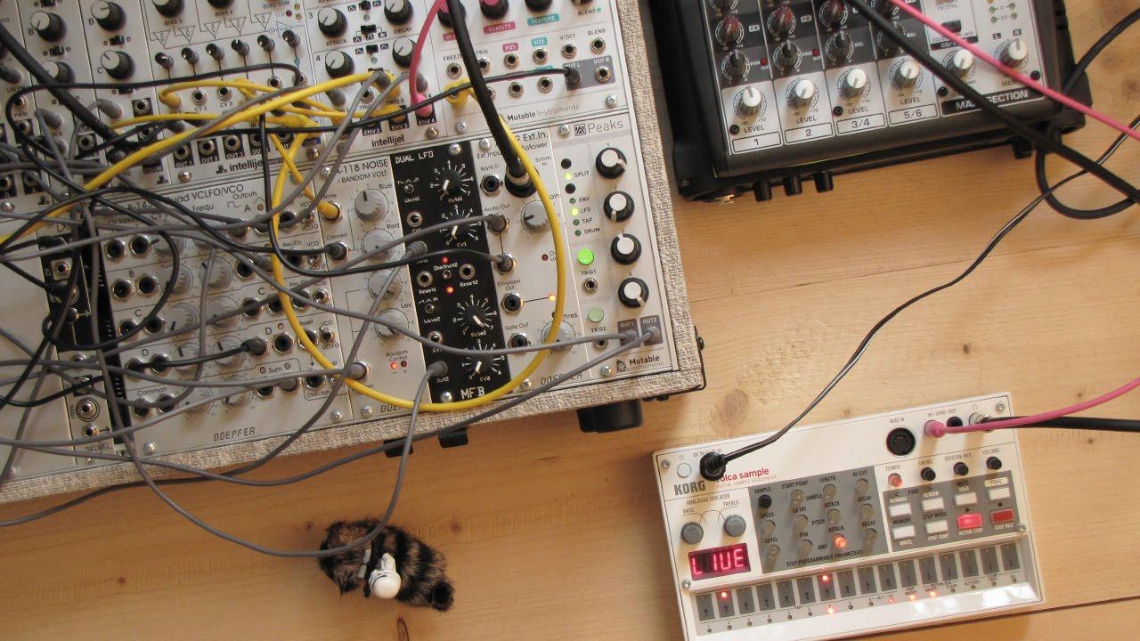 live jam 44 drone techno eurorack modular synthesizer and korg volca sample youtube. Black Bedroom Furniture Sets. Home Design Ideas