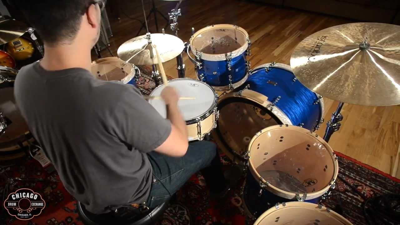 SJC 5pc Kit Blue Ripple w/Vintage White Pearl Wood Hoops & Istanbul Xist  Cymbals - YouTube