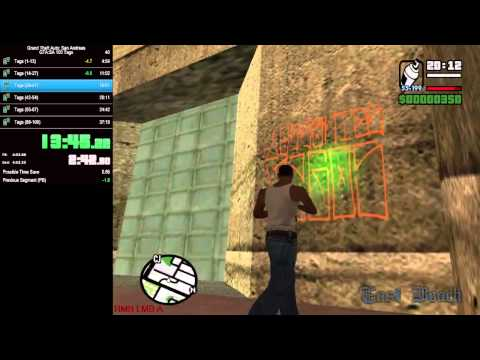Grand Theft Auto: San Andreas 100 Tags Speedrun In 36:04