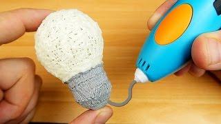 3D РУЧКА - Рисую ЛАМПОЧКУ светящимся пластиком!  alex boyko