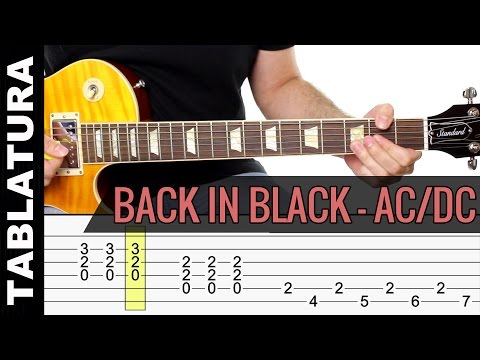 Back In Black de ACDC en guitarra tutorial con Tabs Vídeo Cover como tocar