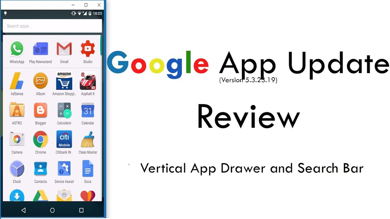 Android Marshmallow Layout (Vertical App Drawer) and Homescreen Search: New  Google App Update Review