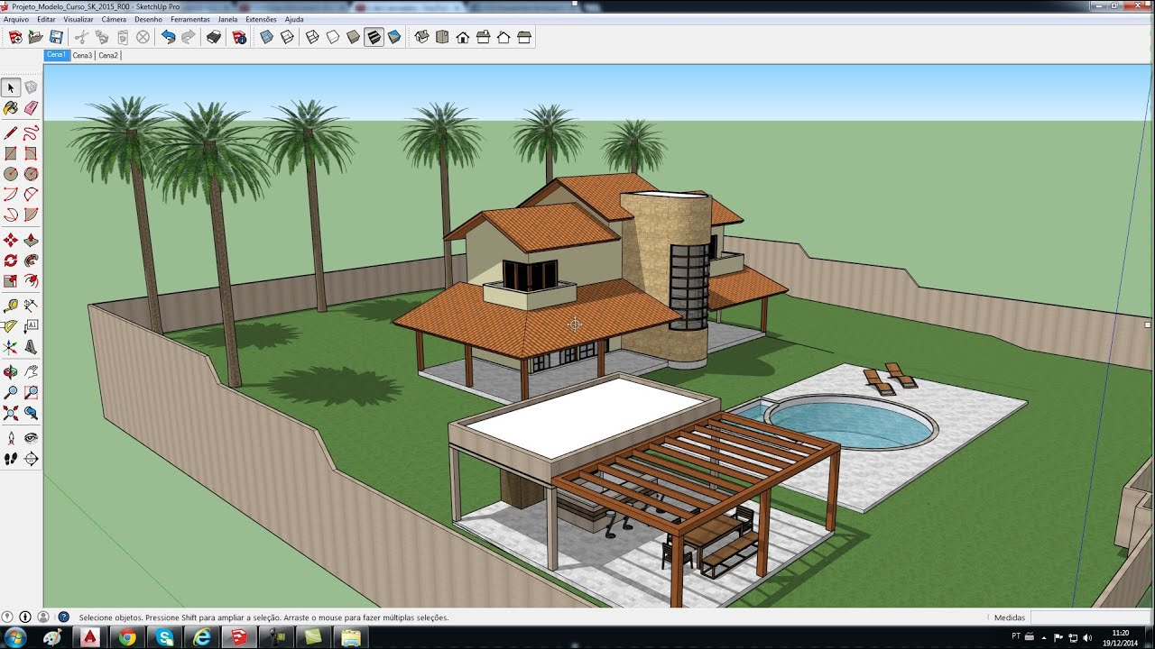 Sketchup 2015 aula 2 templates e ambiente 3d curso for 3d drawing online no download