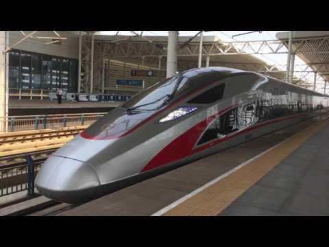 "CR400AF-2001 ""Renaissance"" China Standardized EMU Train Arriving at Tianjin South Railway Station"