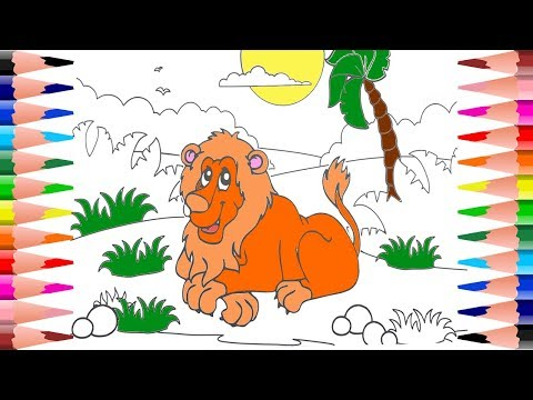 How to paint Lion Coloring Pages for Kids - Coloring Lion in Animals Coloring Book
