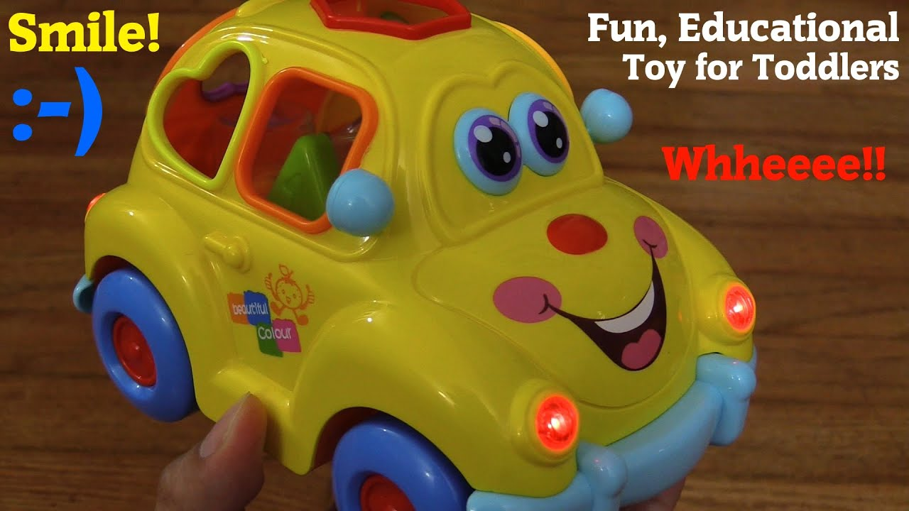 educational toy car for toddlers a yellow beetle shapes sorter car w lights and music unboxing youtube