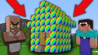 Minecraft NOOB vs PRO : WHY NOOB BUILD RAINBOW HOUSE IN THIS VILLAGE? Challenge 100% trolling