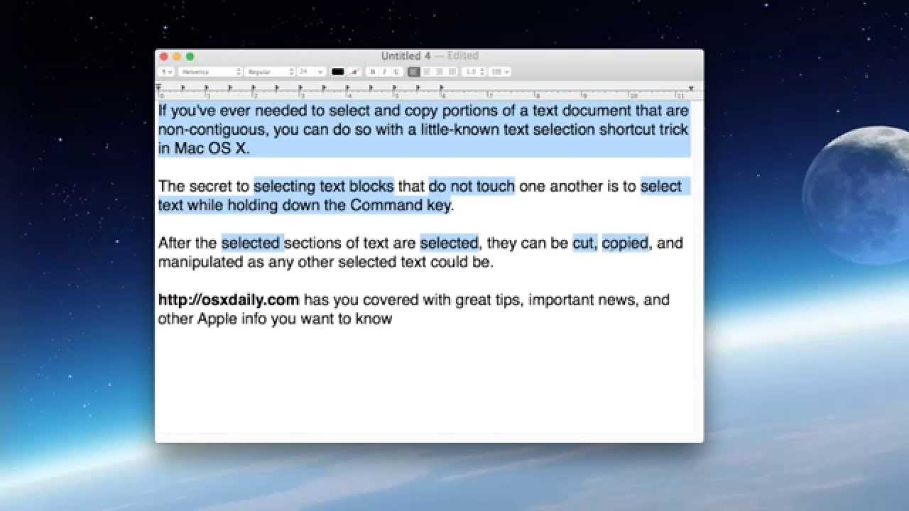 How to Select Non-Contiguous Text in Mac OS X to Copy / Paste / Modify