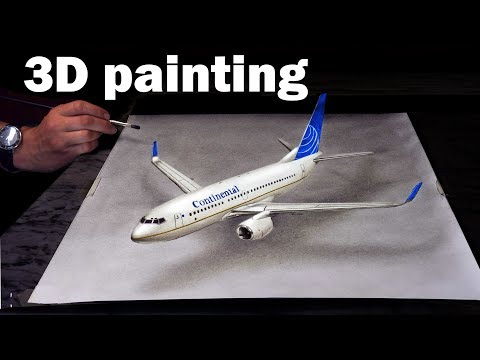 Drawing Of A Plane/ 3D Trick Art Airplane Continental