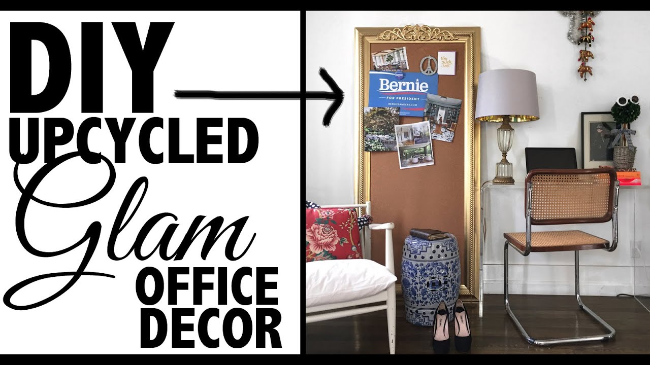 Diy upcycled office decor home decor youtube for Cheap office decorating ideas