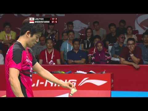 TOTAL BWF World Championships 2015 | Badminton Day 6 SF M10-MD | Lee/Yoo vs Ahs/Set
