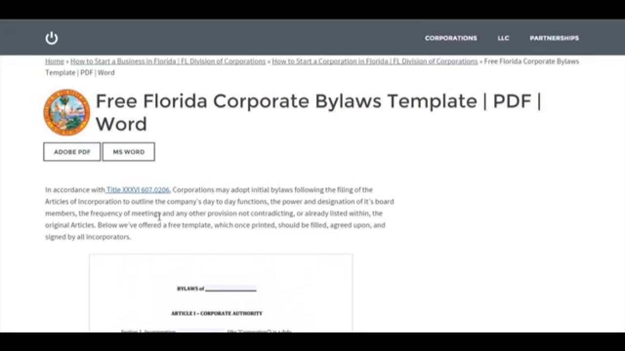 Free Florida Corporate Bylaws Template PDF Word YouTube - Board bylaws template