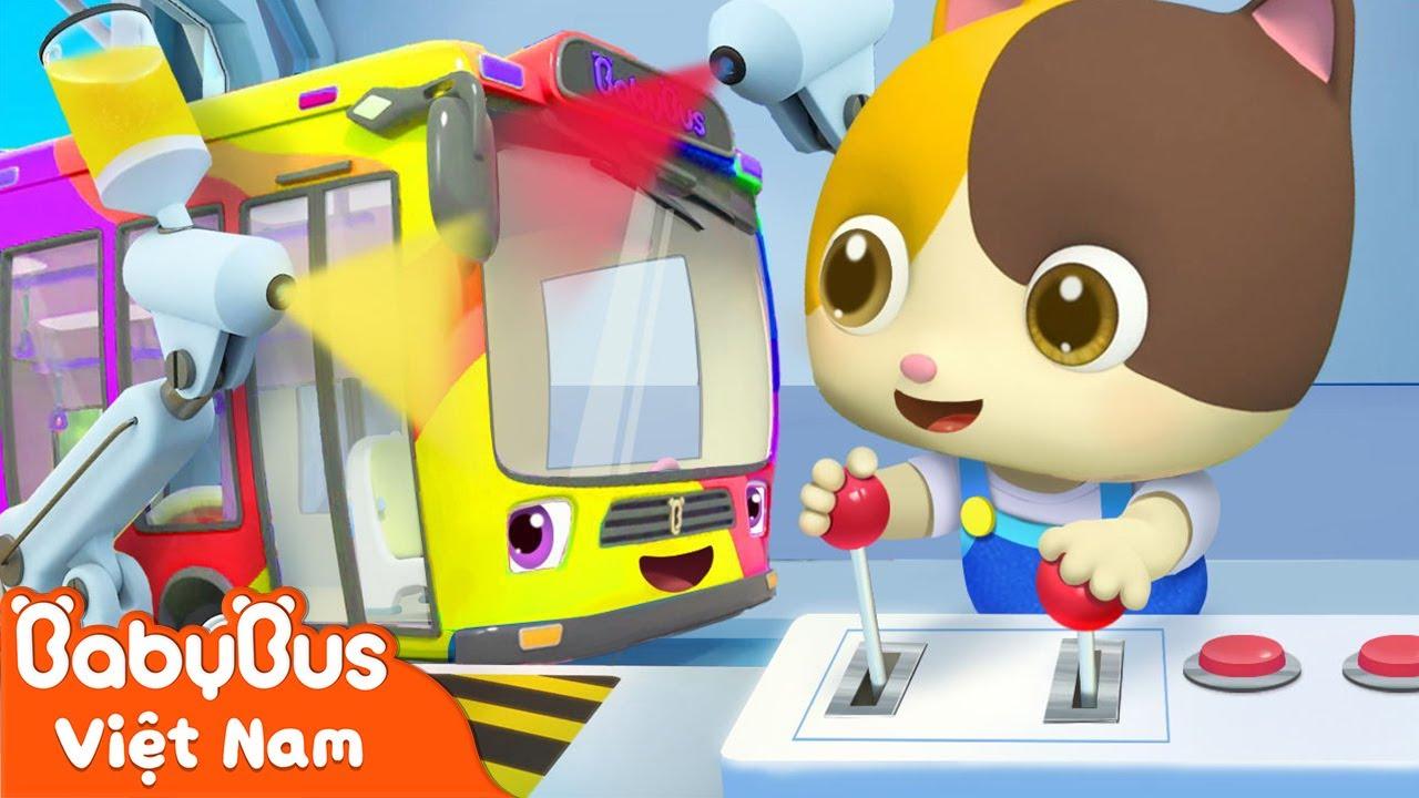 Tiệm sơn màu xe hơi   Chiếc xe buýt sắc màu   Nhạc thiếu nhi vui nhộn   BabyBus
