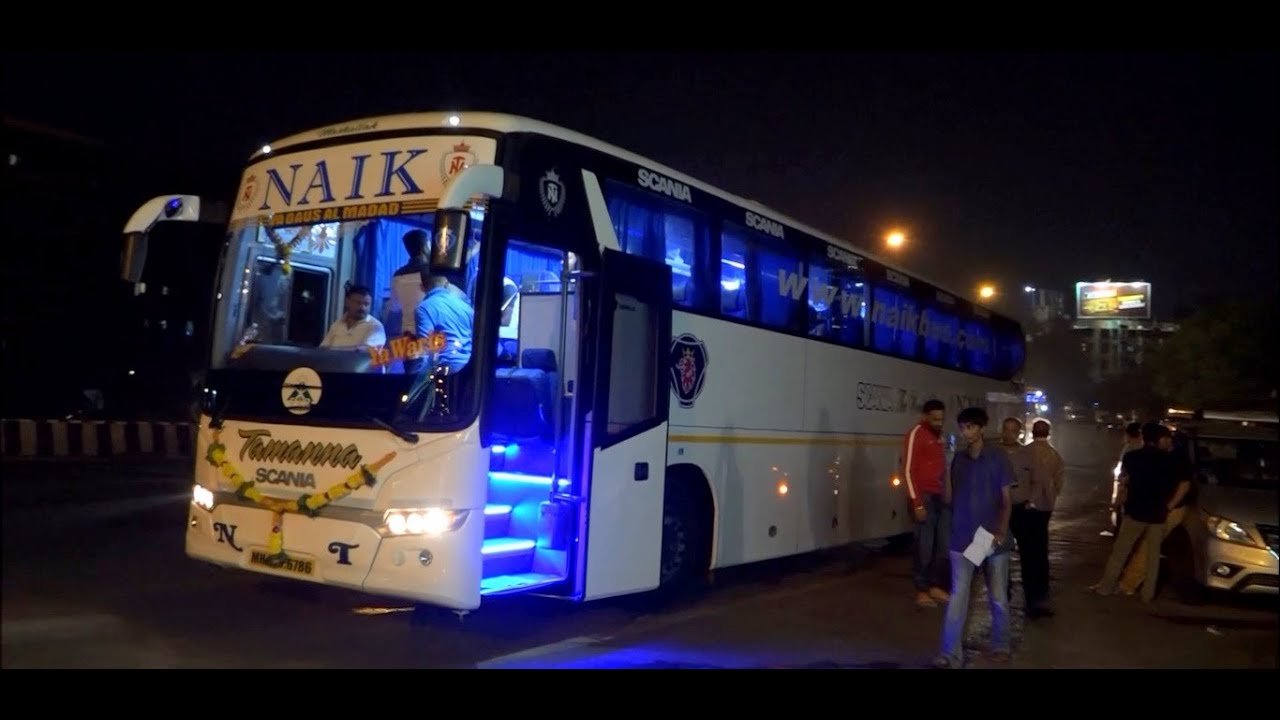 Volvo luxury bus interior - Brand New Dazzling Multi Axle Scania Bus Of Naik Travels From Mumbai Leaving For Goa Youtube