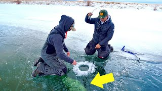 Rare TROPHY Catch Ice Fishing a TINY Pond!!!