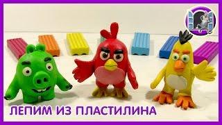 ЭНГРИ БЕРДЗ ИЗ ПЛАСТИЛИНА. Angry Birds Movie of plasticine Видео Лепка