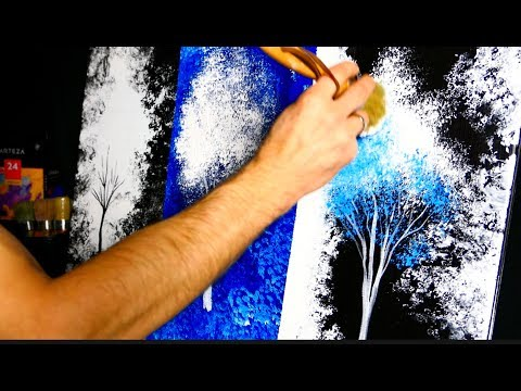 Abstract landscape painting utilizing NATURAL SEA SPONGE | blue trees | acrylics | fast | Dranitsin