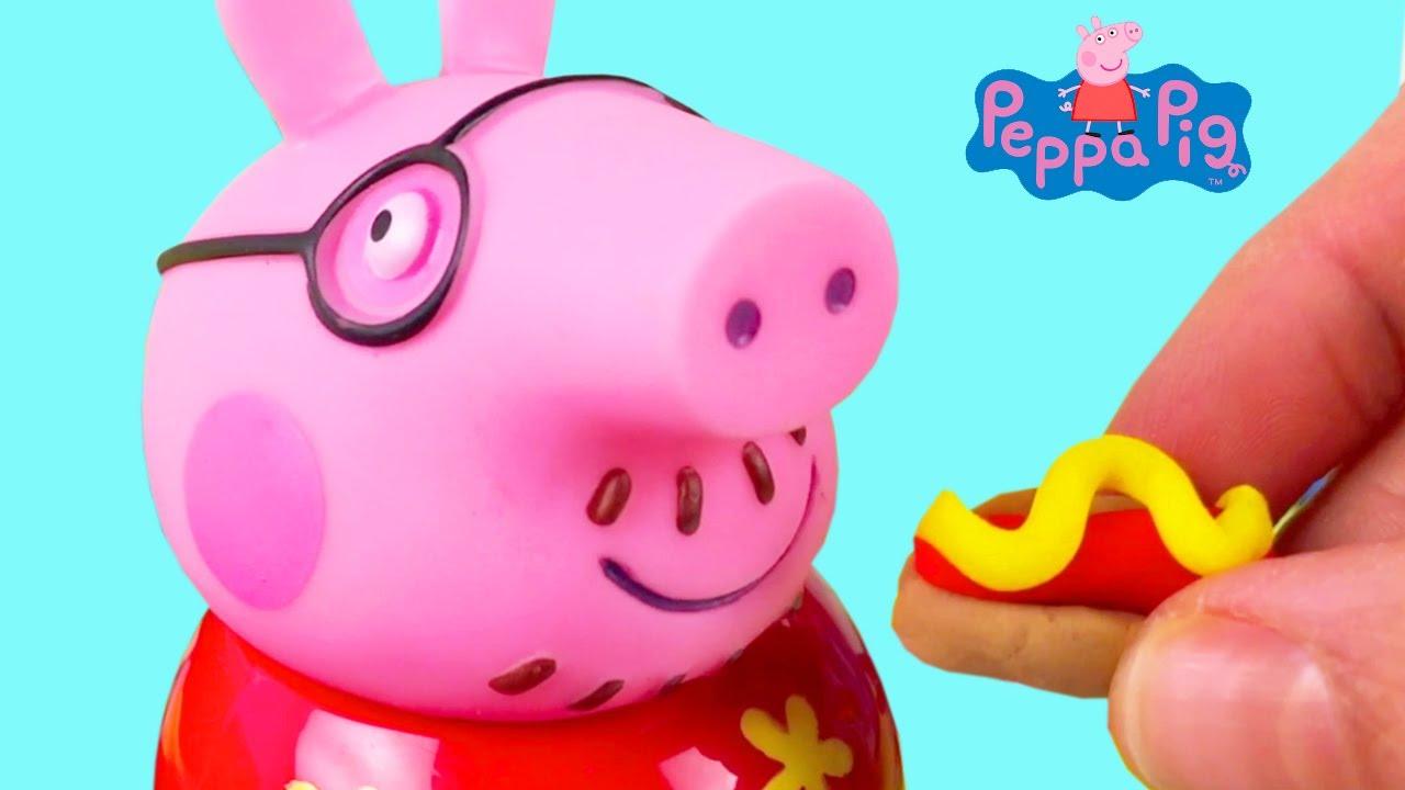 Opa Van Peppa Pig Eet Hotdog Gemaakt Van Klei Filmpje Voor Peuters