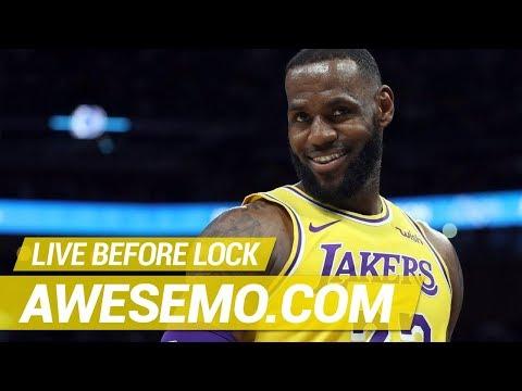 NBA DFS Live Before Lock - Sat 2/23 - Yahoo, FanDuel & DraftKings - Awesemo.com