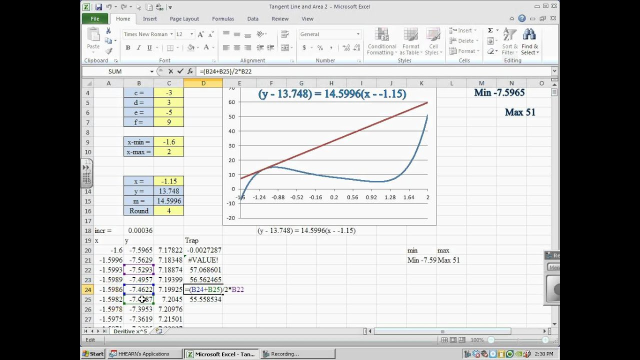Excel Graph With Tangent Lines And Area Under The Curve Pt 2