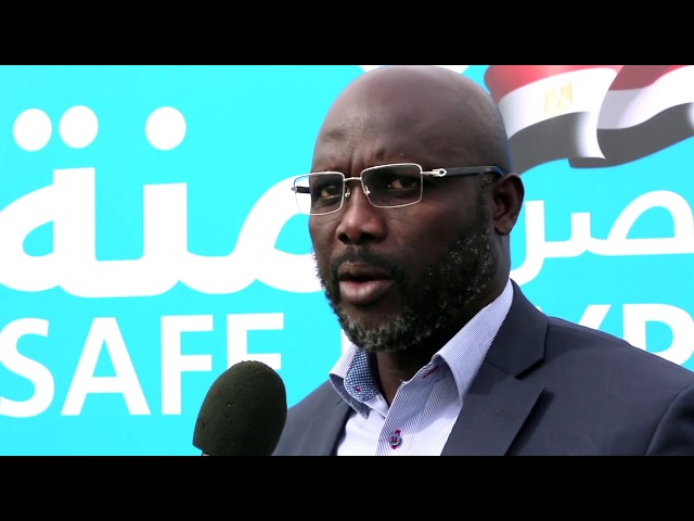Sheikha welcome George Weah in the SATUC tournament Sharm el-Sheikh 2016 - شيخه ال ثاني