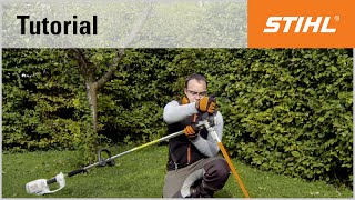 Adjusting the cutter bar on the STIHL HLE 71 electric long-reach hedge trimmer