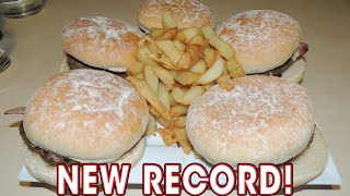 40oz Burger Challenge Cafe Nosh's Five Bacon Cheeseburgers Record!!