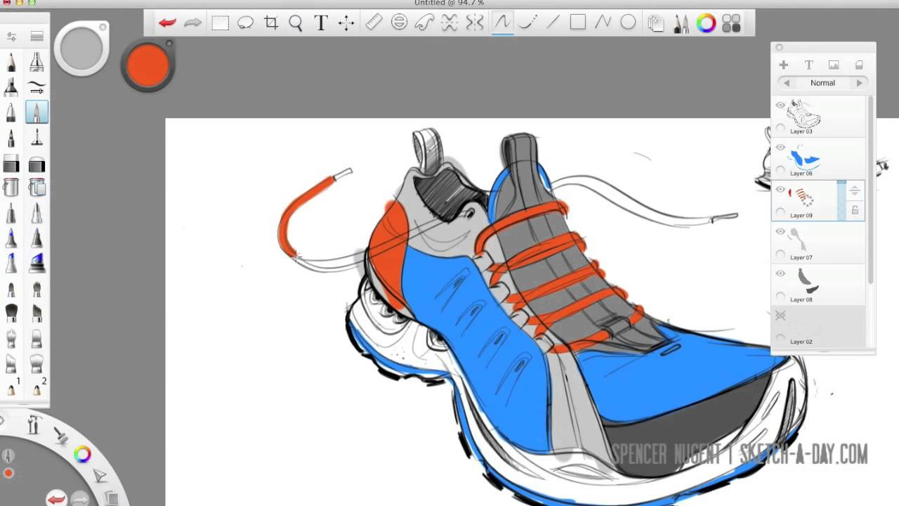 Autodesk Sketchbook Pro Shoe Sketch
