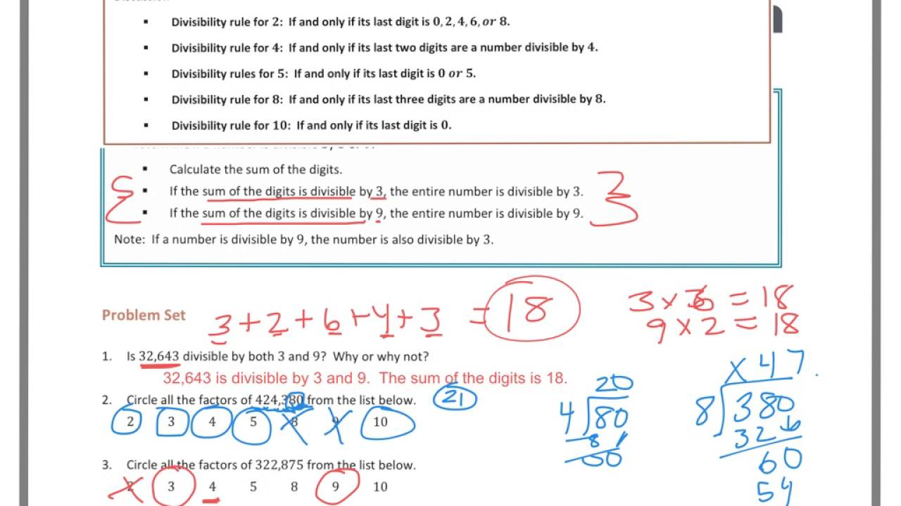 medium resolution of Divisibility Tests (solutions