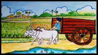 How to draw a village scenery with Bullock Cart 🌲🌲 Gorur Gari step by step