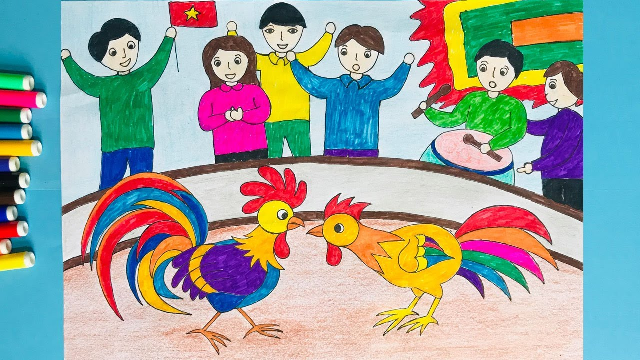 Vẽ tranh đề tài lễ hội | Vẽ lễ hội quê em | Vẽ tranh lễ hội chọi gà | Tổng hợp những kiến thức nói về cách vẽ tranh đề tài ngày tết chính xác nhất