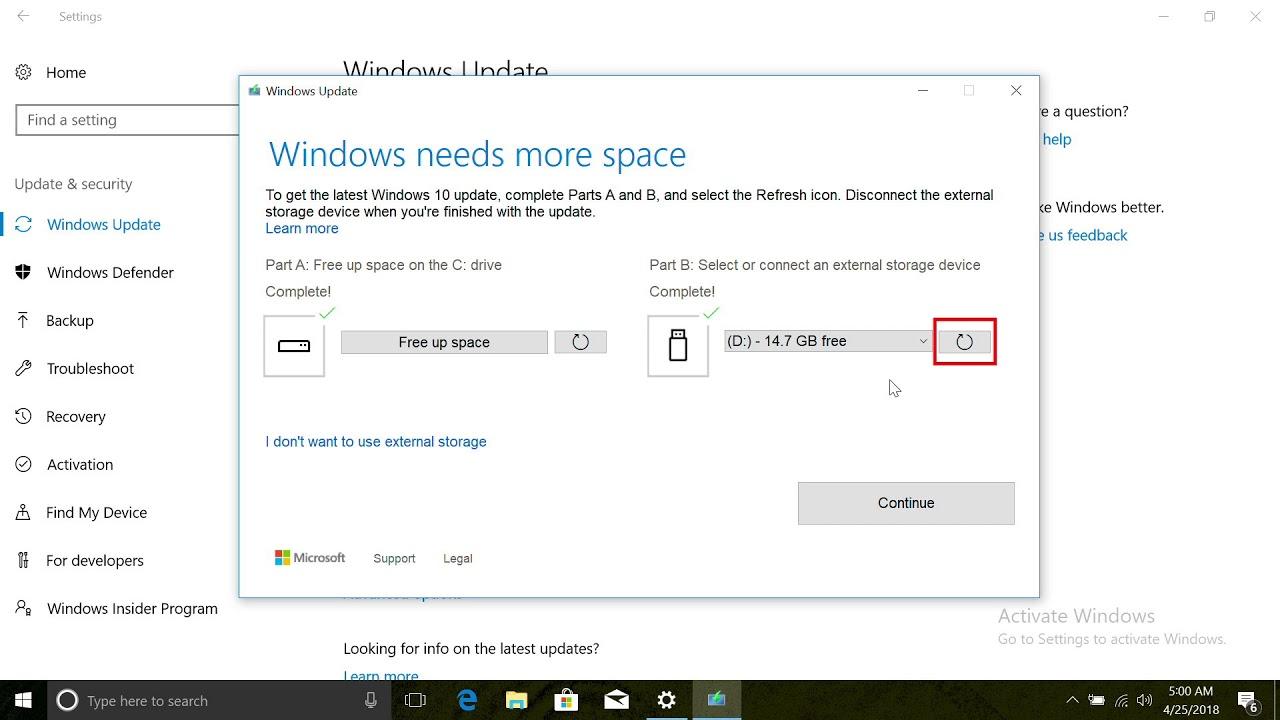 Windows 10 Using External Storage for Windows Updates