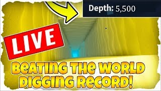 BEATING THE DEEPEST HOLE RECORD! | GOING OVER 5K SAND DEEP! | ROBLOX LIVE!