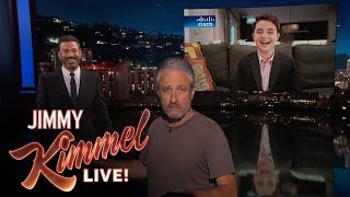 Download Jon Stewart Crashes Jimmy Kimmel's Interview with Bar Mitzvah Kid Mp3 and Videos