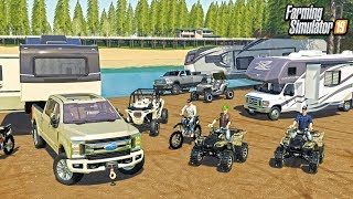 CAMPING AT THE LĄKE WITH THE CREW! ATVS, RZR & DIRTBIKES (ROLEPLAY) | FARMING SIMULATOR 2019