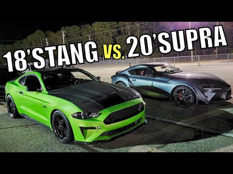 TUNED 2020 SUPRA vs BOLT ON 2018 MUSTANG GT DRAG RACE!