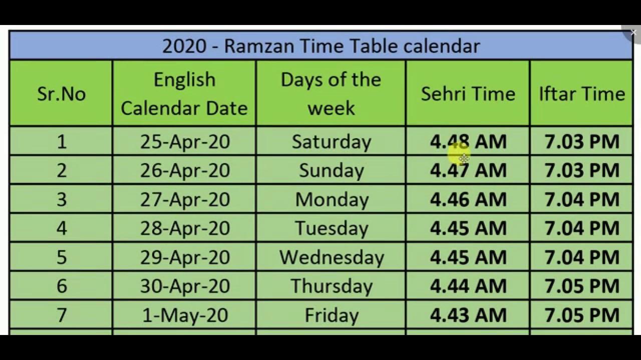 Ramadan time table 2020 india