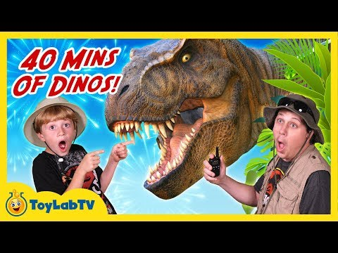 Giant Dinosaur Adventures! 40 Minutes of Dinosaurs with T-Rex, Family Fun Kids Video with Toys