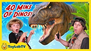 Repeat youtube video GIANT Dinosaur Attacks! 40 Mins of Real Life Dinos w/ T-Rex Kids Compilation Toy Video & Family Fun
