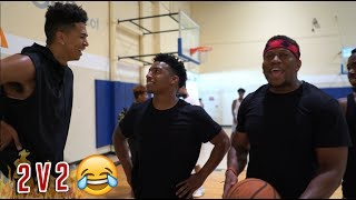 HILARIOUS 2 V 2  BASKETBALL vs Zias & B.Lou w/ CashNasty 3 POINT SHOOTOUT!