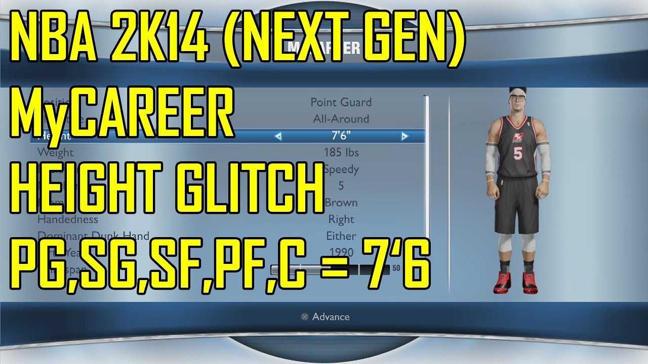 Nba 2k14 Next Gen Mycareer Height Glitch Youtube