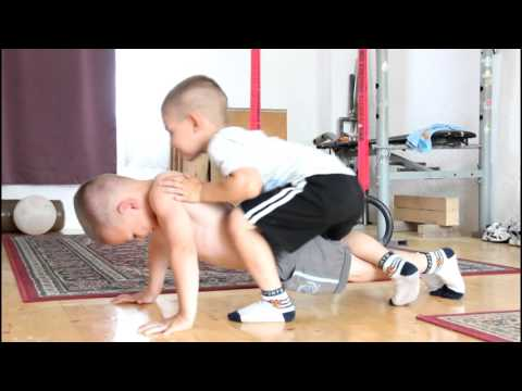 Pushups, with brother in my back