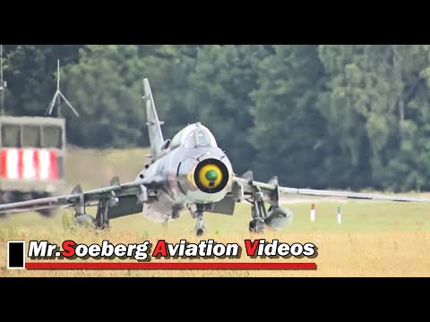 POWERFUL FULL AFTERBURN Departure 3x Su-22 Fitters Polish AF; Volkel 2013